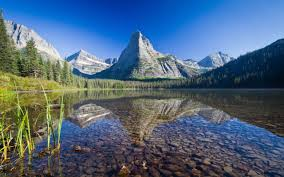 nature lake reflections wallpapers nature landscape mountain glacier national park montana usa
