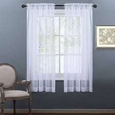 Curtains And Draperies Amazon Com Nicetown Sheer Curtains 63 Long Rod Pocket