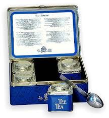 Tea Tin Box with 4 Tea Tins & Brewing Spoon