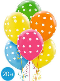 bright polka dot balloons party city
