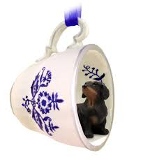 dachshund black tea cup blue ornament