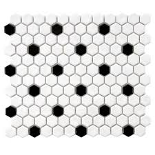 merola tile metro hex glossy white with black dot 10 1 4 in x 11