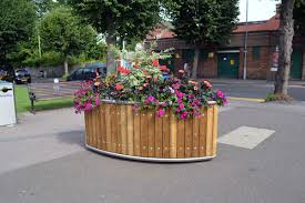 planter design steel planter wooden rectangular with integrated bench