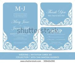 wedding invitation cards set thai painting stock vector 307139936