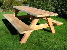 Design For Wooden Picnic Table by Furniture Simple And Neat Outdoor Dining Room Decoration With