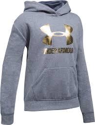 armour sweater armour threadborne fleece metallic big logo hoodie