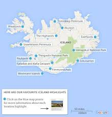 iceland map iceland map highlights responsible travel guide to iceland with