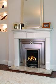 luxurious grey details on gorgeous white electric fireplace for
