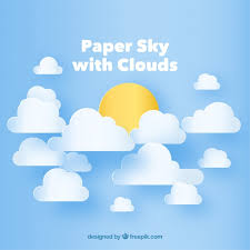sky with clouds and sun background in paper texture vector free