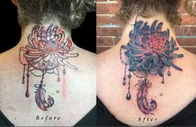 back of neck lettering cover up with chrysanthemum flower and