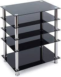 tempered glass shelves for kitchen cabinets audio media stand with 5 tier tempered glass shelves modern av cabinet with le storage for entertainment stereo components sturdy audio