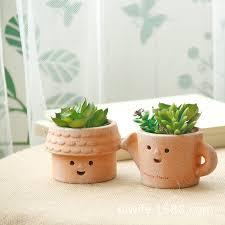japanese zakka retro terracotta pots ceramic pots fleshy mini