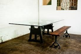 industrial kitchen table furniture dining tables amazing industrial glass dining table inspir 1