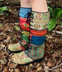womens moccasin boots size 11 colorful hmong embroidered lace up womens vegan moccasin boots