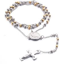 rosary for stainless steel bead chain rosary for men jesus cross pendant