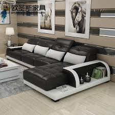Cow Leather Sofa Cheers Barcelona Black And Big White Stitching L Shaped Modern