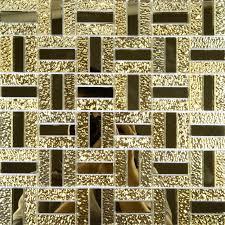 glossy glass mirror tile kitchen backsplash random wave patterns gold