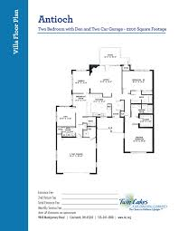 1300 Square Foot Floor Plans by Villa Homes At Twin Lakes Senior Living Community Life Enriching