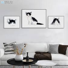 aliexpress com buy black white watercolor animal kawaii cat