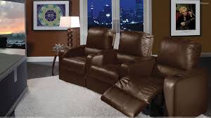 brown sofa set in home theater room wallpaper