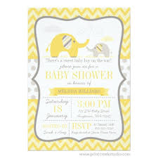 mod baby shower mod yellow gray elephant baby shower invitation print creek