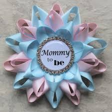 mommy to be pin pale pink light blue gender reveal decorations