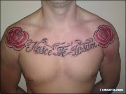 designed lettering collarbone with roses tattoos re