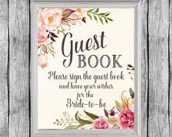 bridal shower sign in book floral guest book etsy