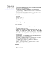 Example Resume Retail by Retail Stock Clerk Cover Letter