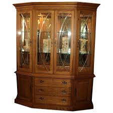 solid oak china cabinet vintage solid oak china breakfront display cabinet by thomasville