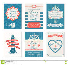wedding invitation cards in nautical style stock vector image