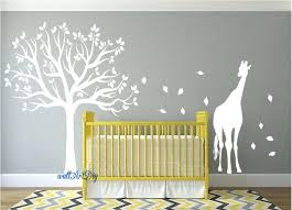 White Tree Wall Decal Nursery Wall Decal Nursery Tree Nursery Wall Decals Tree Wall Stencil