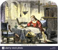 Columbus Map Christopher Columbus Studying A Map In His Studio In Spain 1400s
