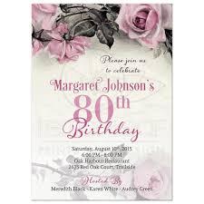 80th birthday invitations 80th birthday invitation vintage pink grey