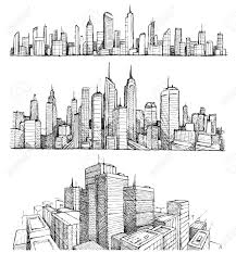 drawn city line drawing pencil and in color drawn city line drawing