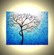 blue and white painting abstract tree paintings abstract tree painting textured cherry