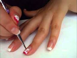 3d white flowers on french manicure nail art tutorial youtube