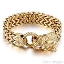 dragon bracelet jewelry images 2018 25cm len punk rock gold dragon head bracelets stainless steel jpg