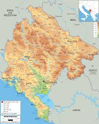Western Europe Physical Map by Physical Map Of Montenegro Ezilon Maps