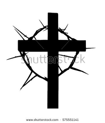 cross crown thorns isolated on white stock vector 575551141