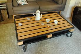 Wooden Coffee Table With Wheels by Reclaimed Pallet Wood And Metal Coffee Table 101 Pallets