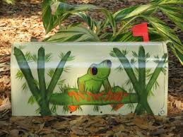 painted handpainted mailbox mailboxes tree frog tree frogs
