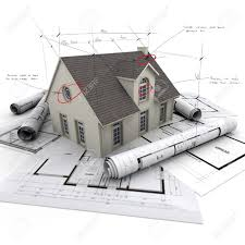 house with notes and measurements and blueprints stock photo