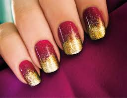 gold in red gradient of fabulous airbrush nails design nails