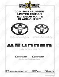 toyota products and prices 2010 2018 toyota 4runner emblem overlay black out kit nox lux