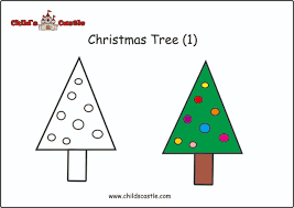 easy to follow drawing of christmas tree ask your children to