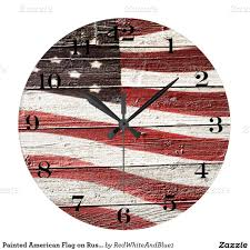 How To Paint American Flag Painted American Flag On Rustic Wood Texture Large Clock Flags