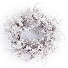artificial christmas wreaths buy pack of 2 artificial christmas wreaths with snow and white