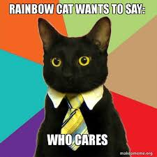 Cat Rainbow Meme - rainbow cat wants to say who cares business cat make a meme