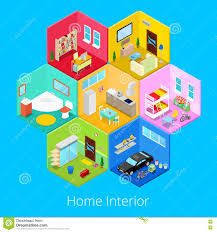 isometric home house interior with living room kitchen bathroom